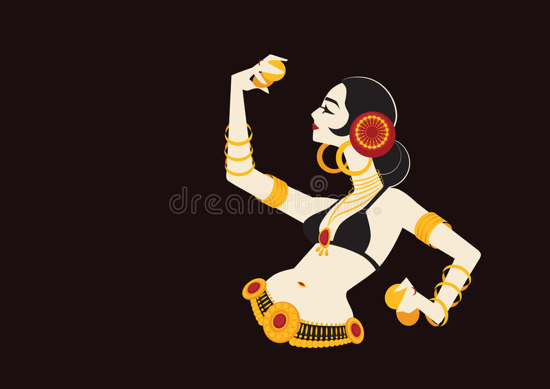 Tribal belly dancer with cymbals holding expressive impressive p stock illustration