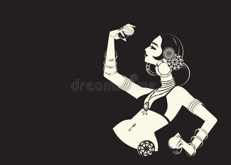 Tribal belly dancer with cymbals holding expressive impressive p vector illustration