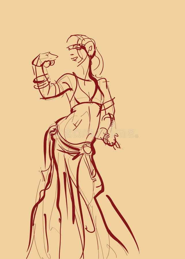Tribal belly dancer with cymbals holding expressive impressive stock illustration