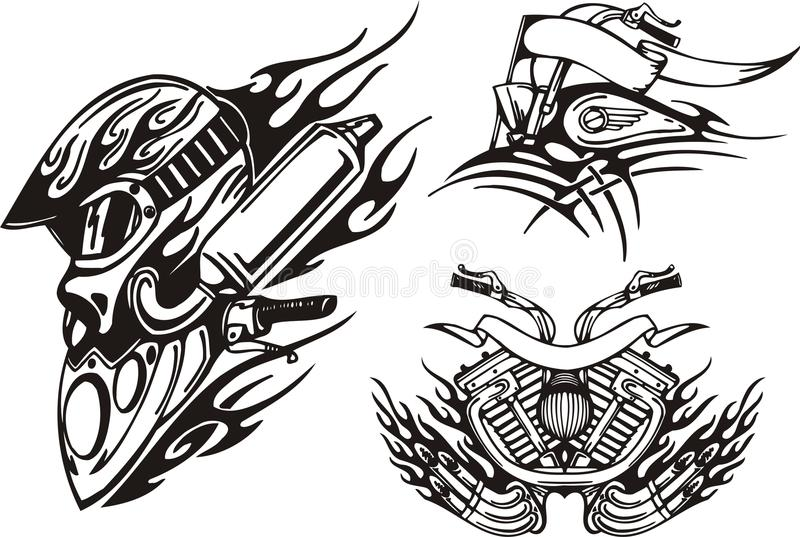 Tribal bikes. Helmet of the biker, front part of a motorcycle, the motorcycle motor. Vector illustration ready for vinyl cutting stock illustration