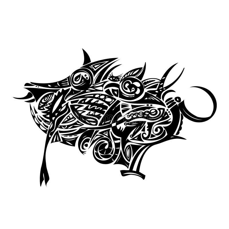 Tribal Boar. Tribal, maori style boar illustration, available in vector format vector illustration
