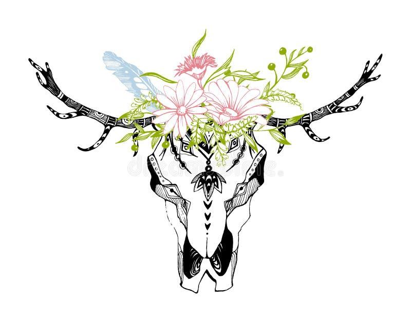 Tribal boho skull with flowers. Traditional ornament. Be wild and free. Tribal boho skull with flowers. Traditional ornament. Be wild and free vector illustration