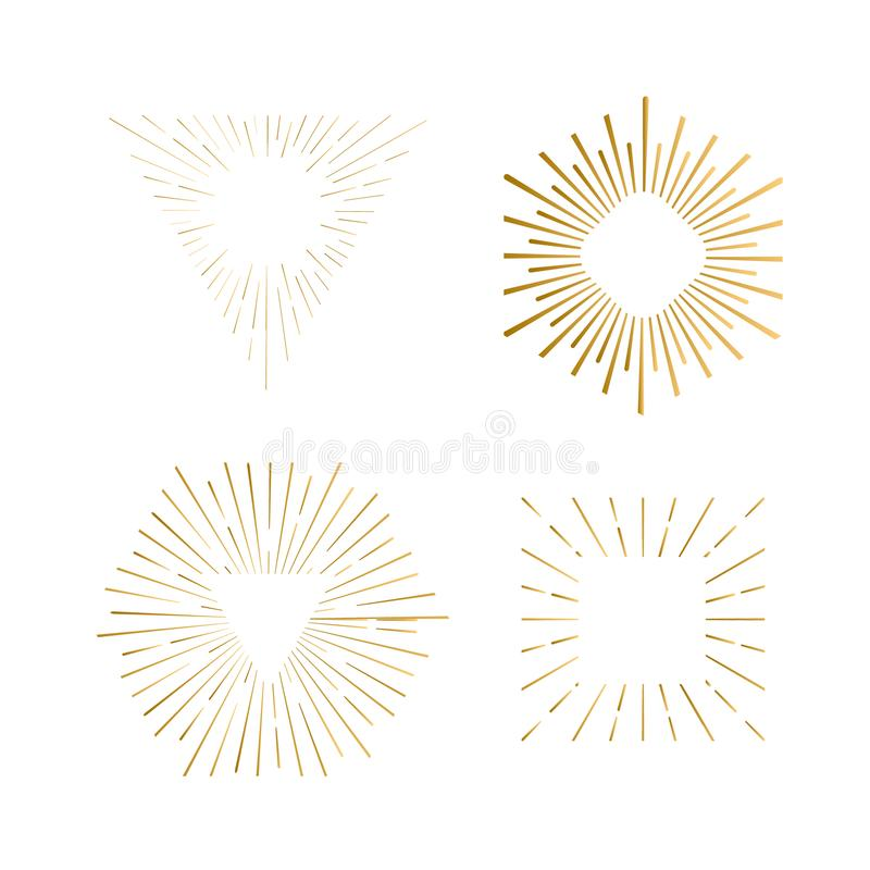 Tribal boho sunburst frames with place for your text. Gold sparkle hipster logo, Vector line firework shapes. Tribal boho sunburst frames with place for your stock illustration