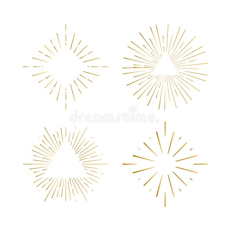 Tribal boho sunburst frames with place for your text. Gold sparkle hipster logo, Vector line firework shapes. vector illustration