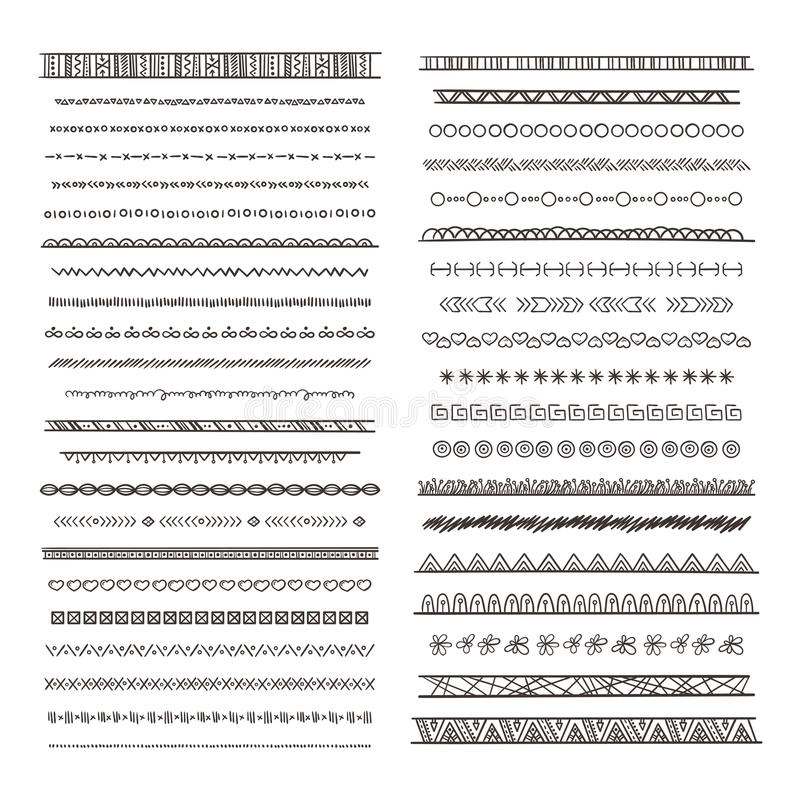 Tribal borders illustrations in boho style. Vector collection isolate. Hand drawn pictures stock illustration