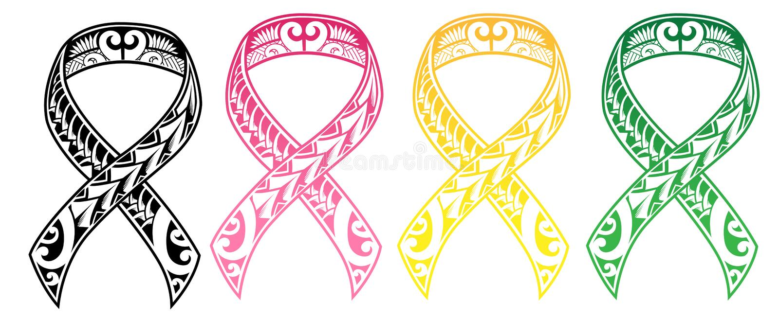 Tribal Cancer Ribbon vector illustration