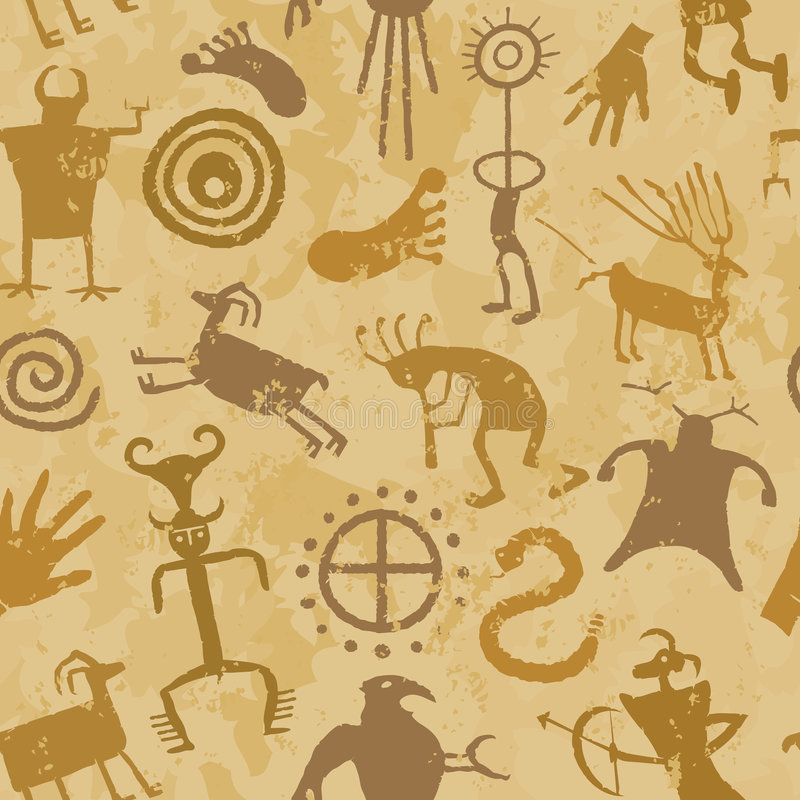 Tribal Cave Painting. Cave Painting with animals and hunters stock illustration