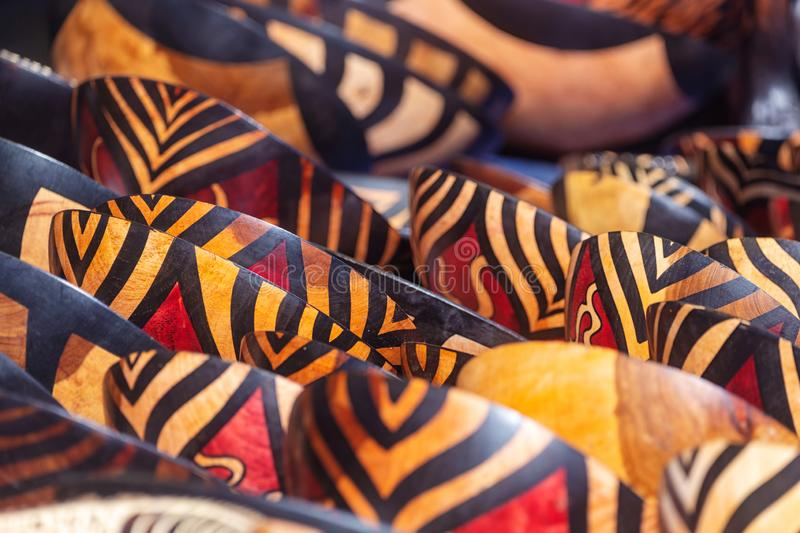 Tribal colored bowls in street market souvenir store in South Africa. Tribal colored bowls in street market souvenir store in Cape Town, South Africa royalty free stock images