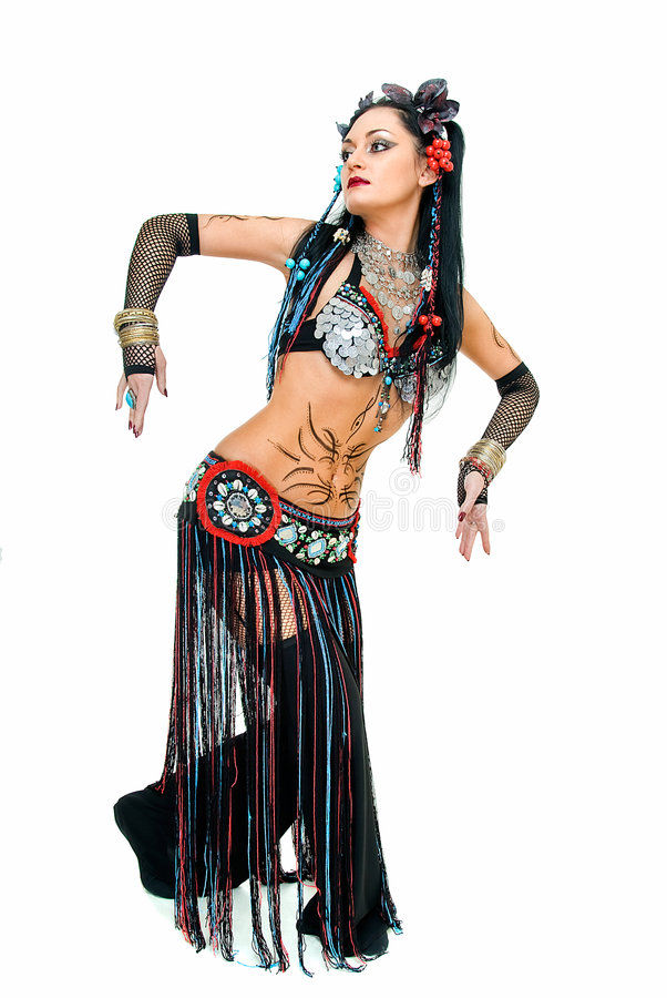 This is tribal dance. Young beautyful tribal dancer woman on white royalty free stock photography