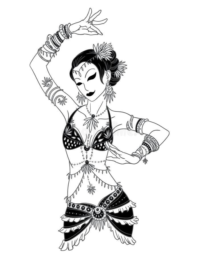Tribal Dancer or Belly Dancer Girl in Hand Drawn Style. vector illustration