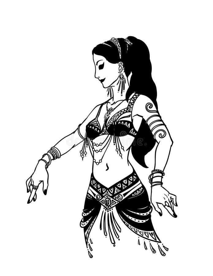 Tribal Dancer or Belly Dancer Girl in Hand Drawn Style. Vector Illustration for Your Design. Tribal Dancer or Belly Dancer Girl in Hand Drawn Style. Vector vector illustration