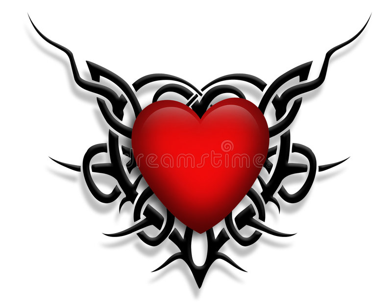 Tribal design Heart graphic tattoo stock images