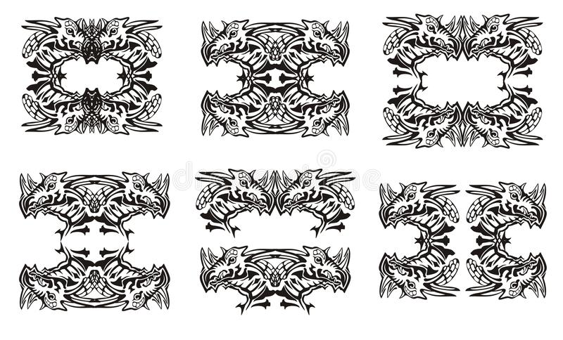 Tribal Dragon Symbols Black On The White Stock Vector