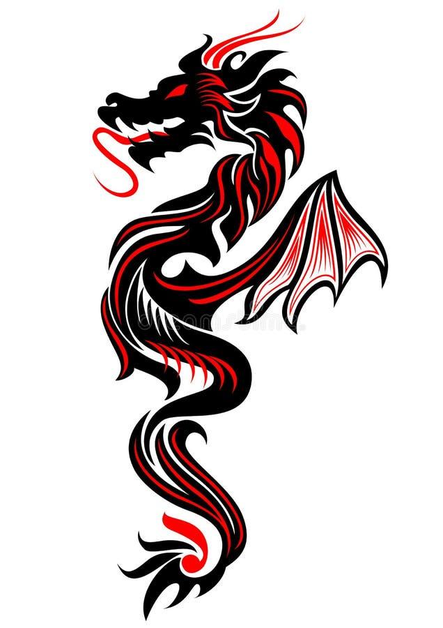 Tribal dragon tattoo stock vector. Image of decorative
