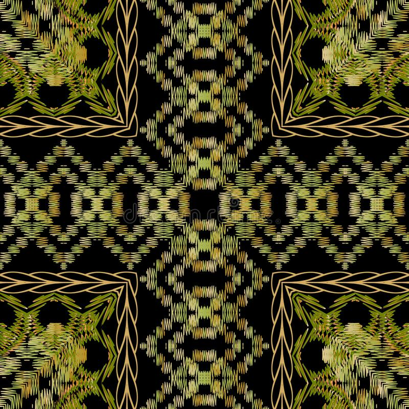 Tribal embroidery green vector seamless pattern. Checkered striped textured background. Tapestry repeat grunge ethnic. Backdrop. Embroidered stitch zigzag stock illustration