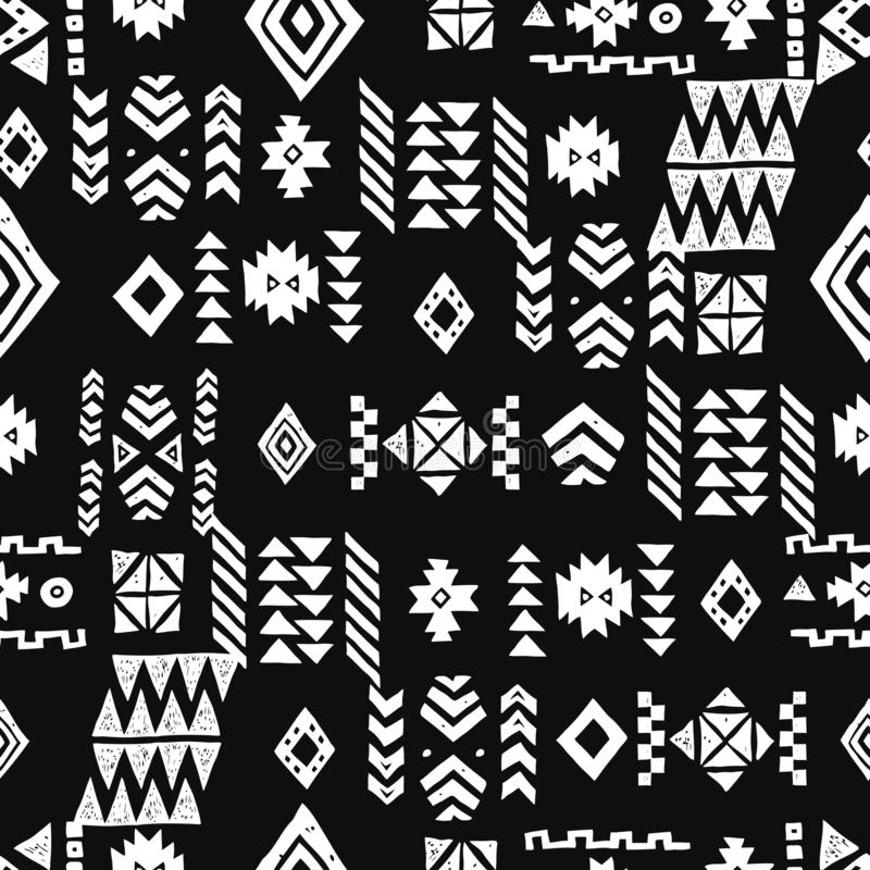 Seamless Ethnic pattern. Tribal vector abstract monochrome background vector illustration
