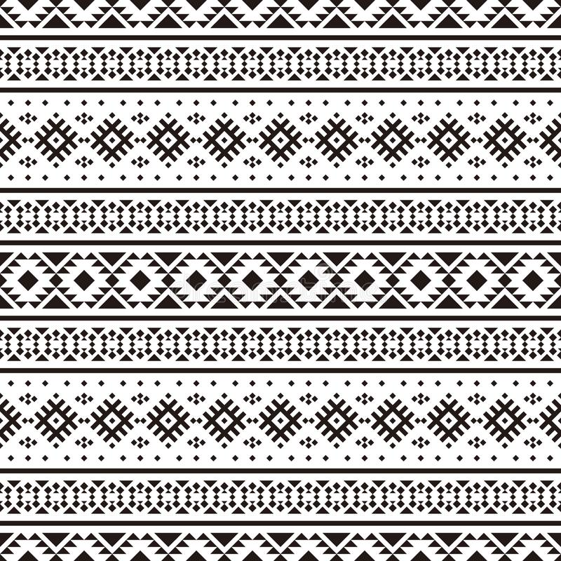 Tribal ethnic seamless ethnic pattern vector black white color vector illustration