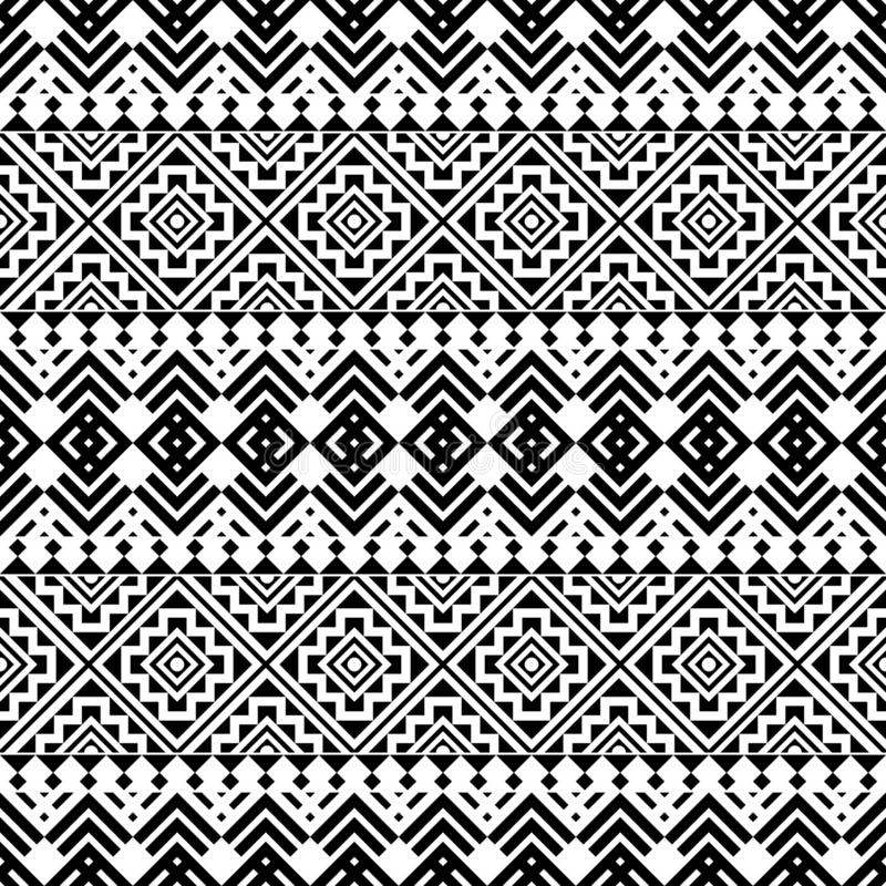 Tribal Seamless Pattern Black White Color Stock ...