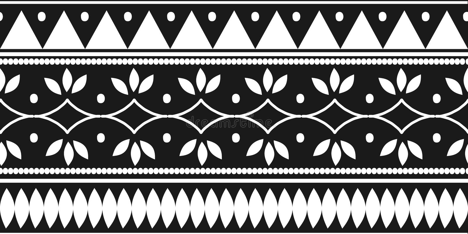 Tribal ethnic seamless pattern with black and white colors. Background traditional symbol drawing for fashion textile print and vector illustration