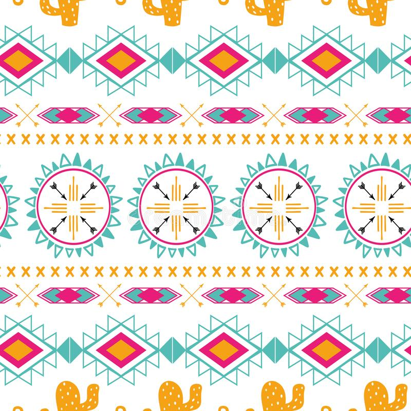 Tribal ethnic seamless pattern. Aztec abstract background. Mexican ornament texture in bright pink orange colors. Tribal ethnic seamless pattern in bright pink vector illustration