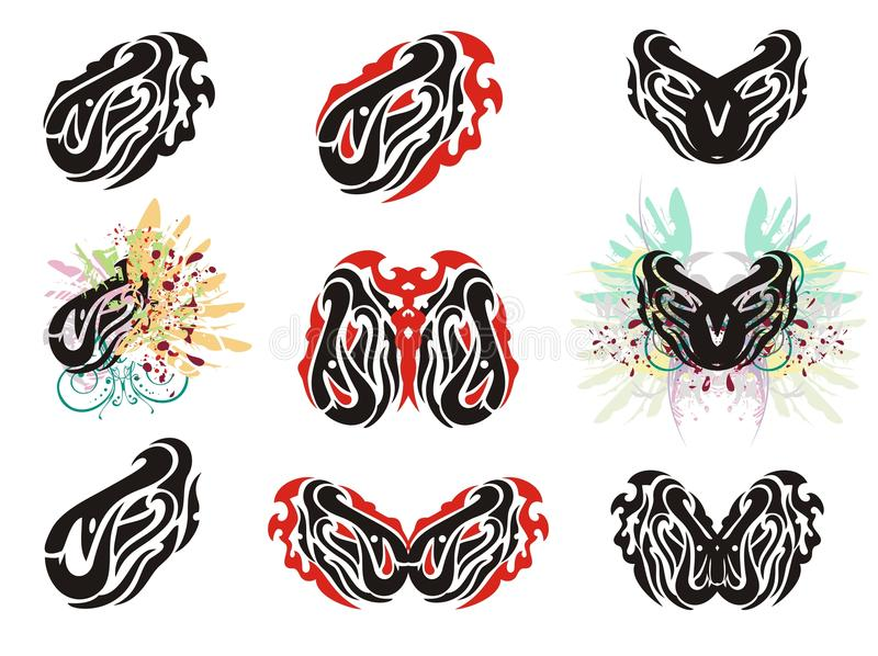 Tribal eye in the fish form and grunge eyes royalty free illustration