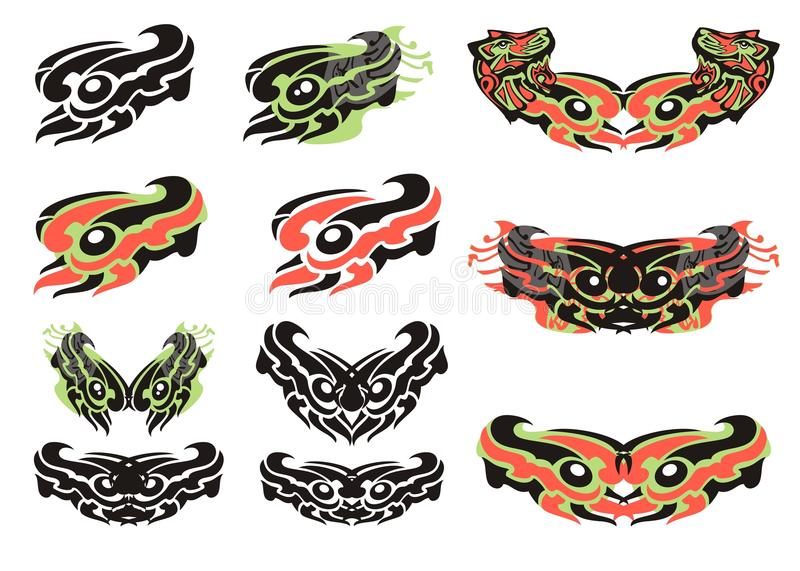 Tribal eyes in the bird form royalty free illustration