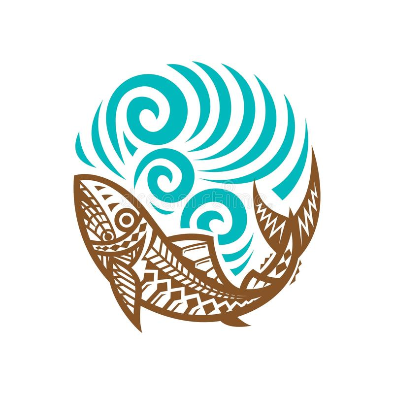 Tribal Fish wave illustration vintage royalty free illustration