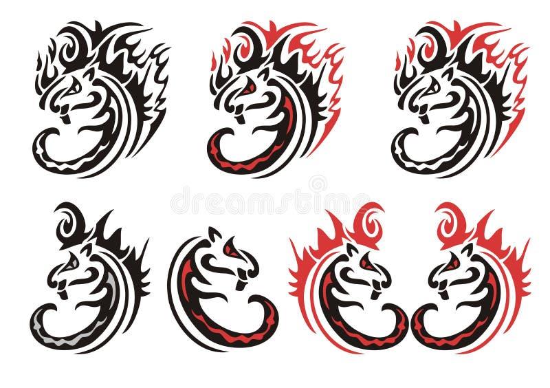 Tribal Flaming Cats Symbols Stock Vector Illustration Of Curve