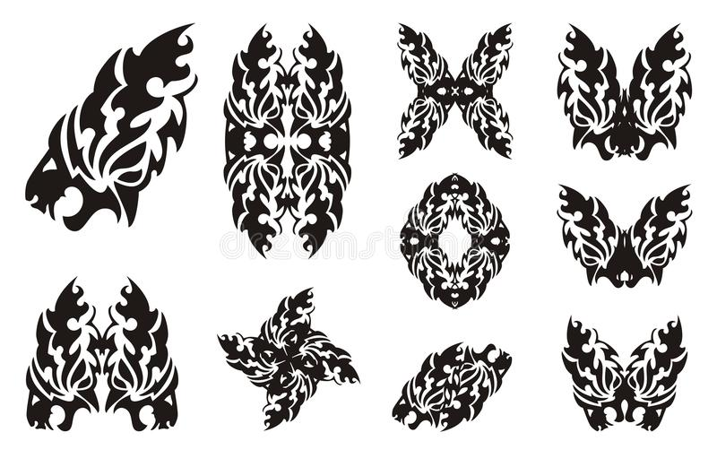 Tribal flaming lion head symbols and elements from it. The stylized lion head, a lion butterfly, a frame and the decorative twirled lion symbols stock illustration