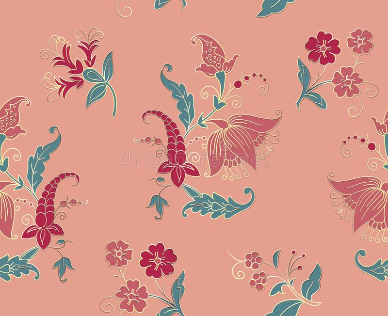 Tribal flowers seamless pattern. Indian National paisley ornament for cotton, linen fabrics. Bohemian ornament for taps. royalty free illustration