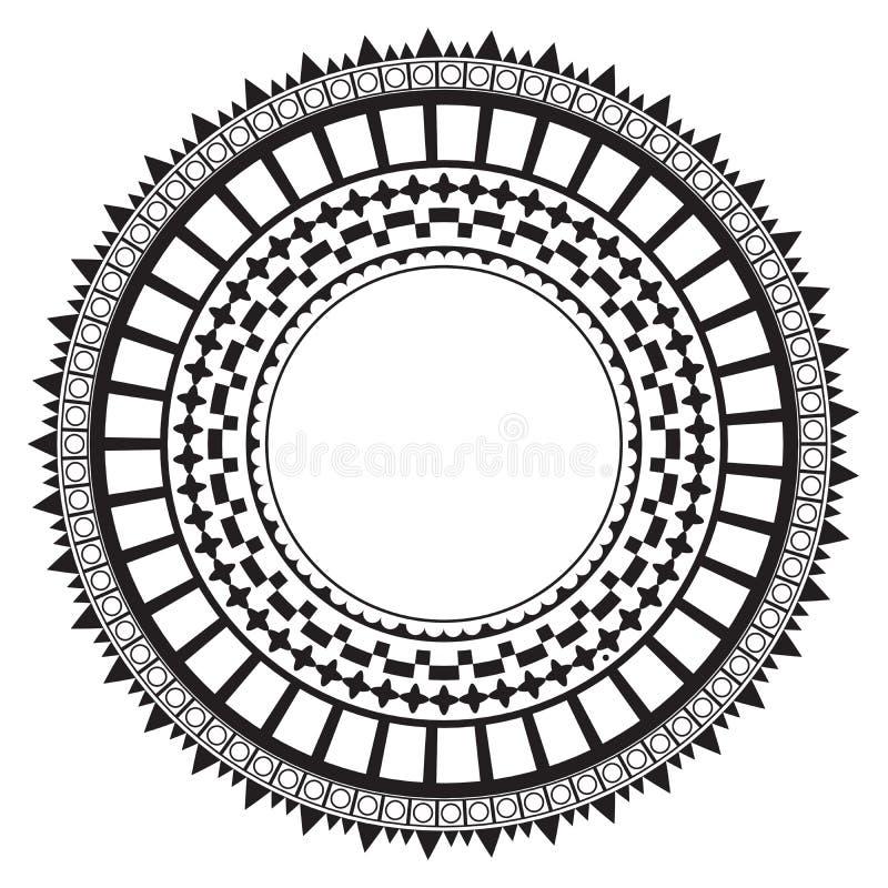 Tribal folk aztec geometric pattern in circle. Is a general illustration stock illustration