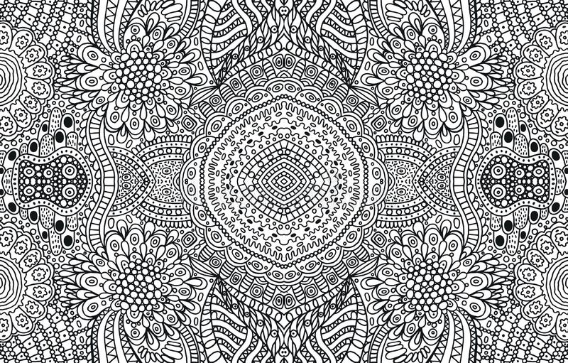Tribal and folk ornament - coloring page for adults. Black and white doodle background. Vector illustration.  stock illustration