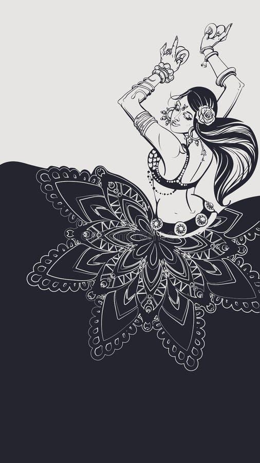 Tribal Fusion bellydance dancer contour graphic design royalty free illustration