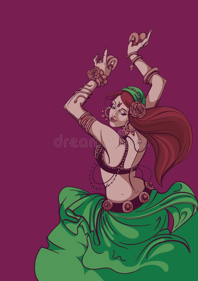 Tribal Fusion bellydance dancer graphic design royalty free illustration