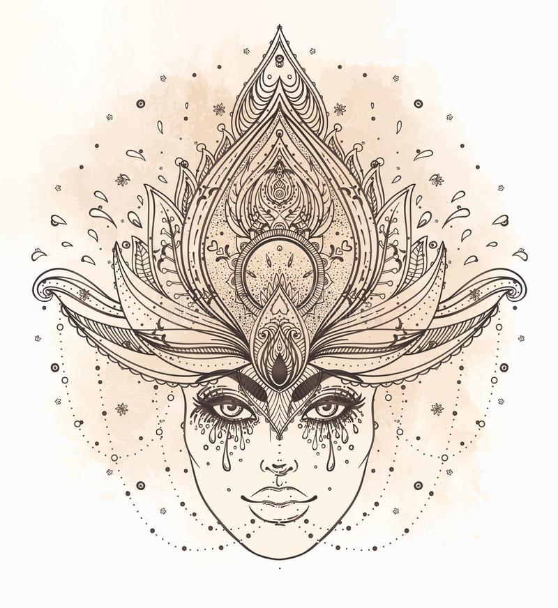 Tribal Fusion Boho Diva. Beautiful Asian divine girl with ornate. Crown, kokoshnik inspired. Bohemian goddess. Hand drawn elegant illustration. Lotus flower royalty free stock photography