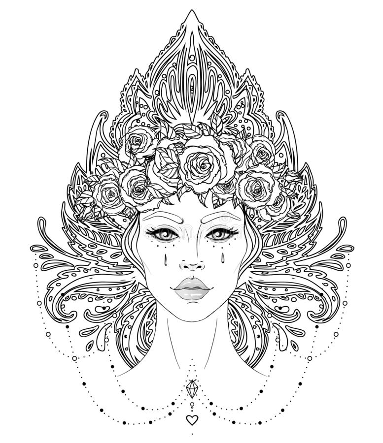 Tribal Fusion Boho Diva. Beautiful Asian divine girl with ornate crown, kokoshnik inspired. Bohemian goddess. Hand drawn elegant royalty free stock photography