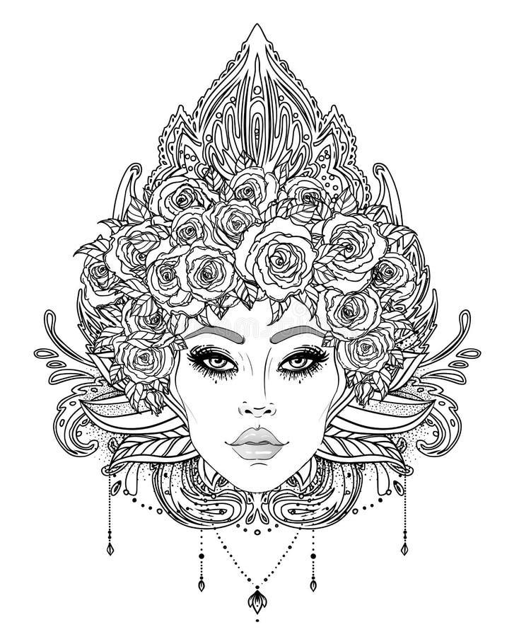 Tribal Fusion Boho Diva. Beautiful Asian divine girl with ornate crown, kokoshnik inspired. Bohemian goddess. Hand drawn elegant. Illustration. Lotus flower stock photography