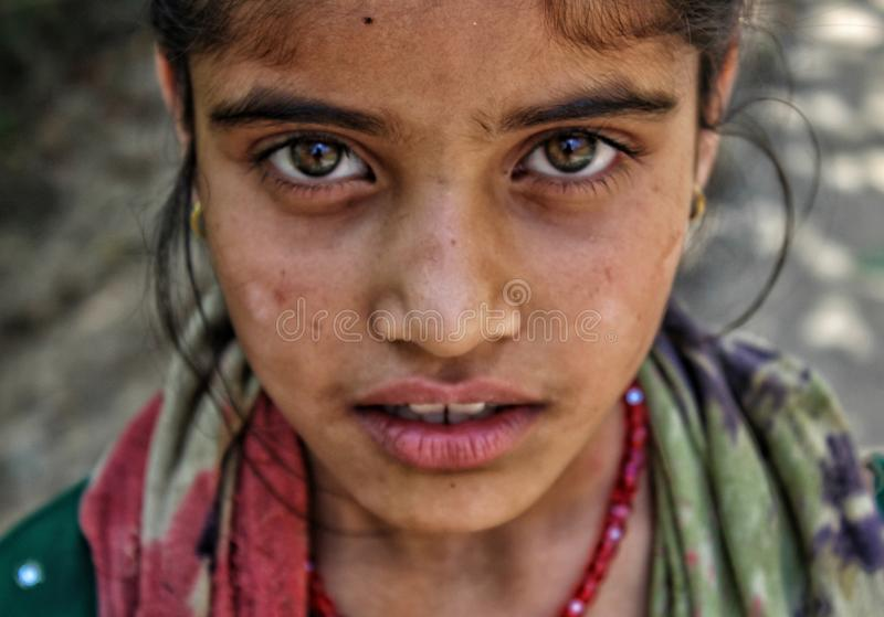 Tribal girl. A young nomad tribal girl posing for picture in a far flung area of Anantnag Kashmir, most of gujjar and bakrwal tribes live in forest areas of royalty free stock image
