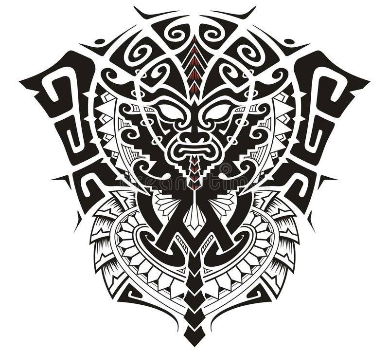 Tribal God with Alpha and Omega symbol vector illustration. Ethnic Tribal Ceremonial mask with alpha omega symbol stock illustration