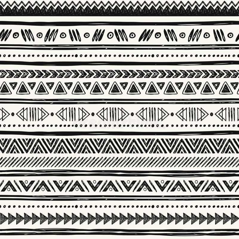 Tribal hand drawn background, ethic doodle pattern. Geometric borders. Hand drawn abstract backdrop. Wallpaper for pattern fills, web page stock illustration