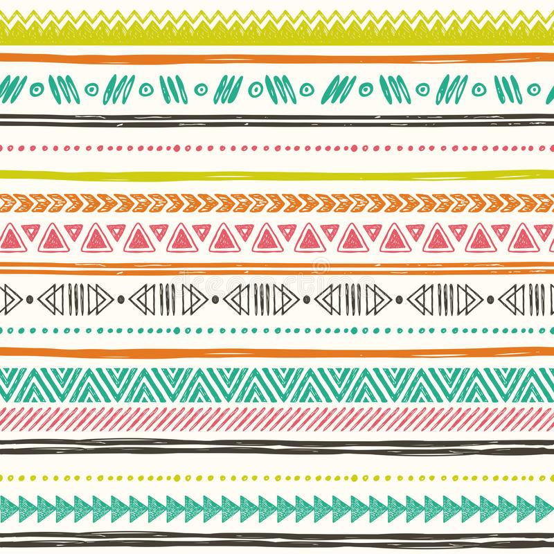 Tribal hand drawn background, ethic doodle pattern. Geometric borders. Hand drawn abstract backdrop. Wallpaper for pattern fills, web page vector illustration