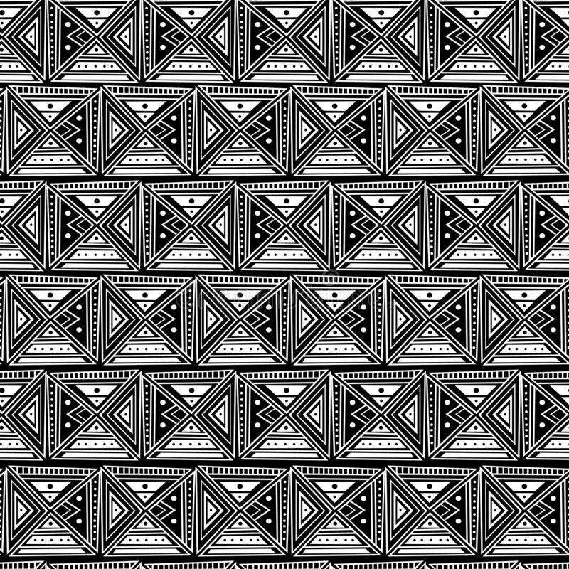 Tribal hand drawn square pattern ornament black and white vintage retro asian, african, tunisian, egyptian seamless drawing. Background abstract grunge paint vector illustration