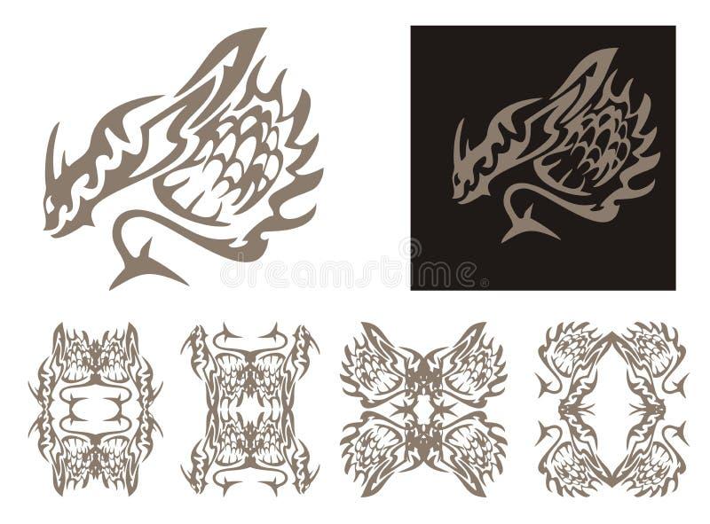 Tribal Horned Dragon And Dragons Frames Stock Vector - Illustration ...