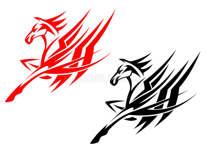 Download Tribal horse tattoo stock vector. Illustration of freedom - 25017652
