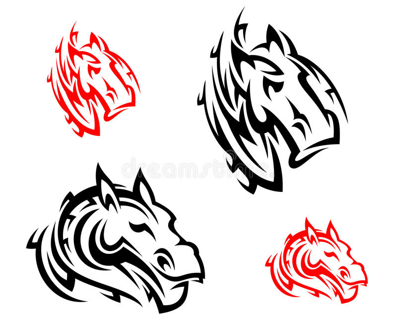 Download Tribal horses tattoos stock vector. Image of insignia - 34996514