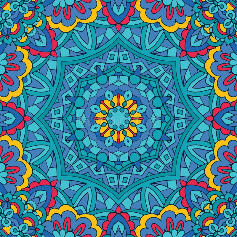 Tribal indian ethnic seamless design. Festive colorful mandala pattern. Geometric mandala vector illustration