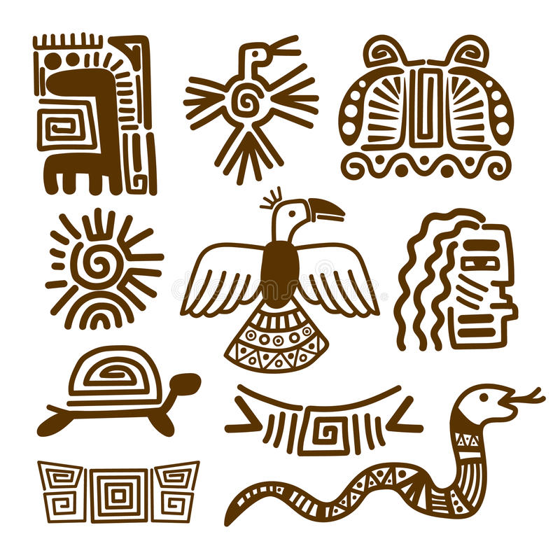 Tribal Indian Patterns Or Mexican Symbols Stock Vector