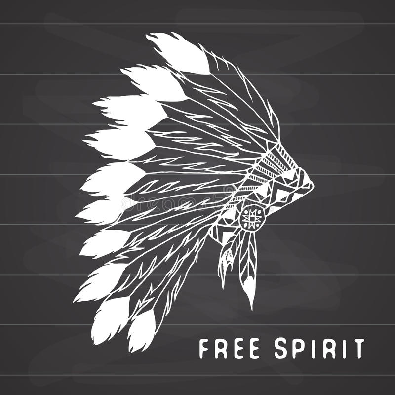 Tribal legend in Indian style, Native american traditional headdress with bird feathers and beads Vector illustration. Tribal legend in Indian style, Native stock illustration