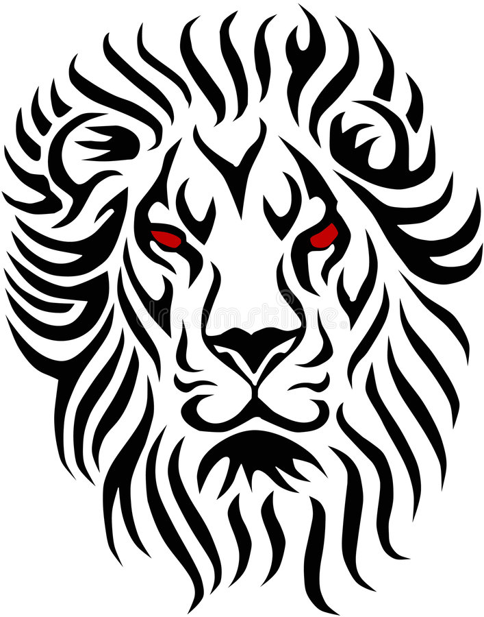 Tribal lion. Shapes easy to resize or change color stock illustration