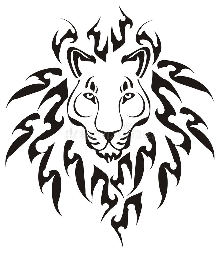 Download Tribal lion head, vector stock vector. Image of male - 28732082